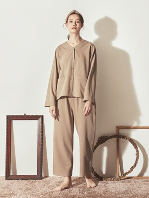 COZY V-NECK PAJAMA SET_Beige