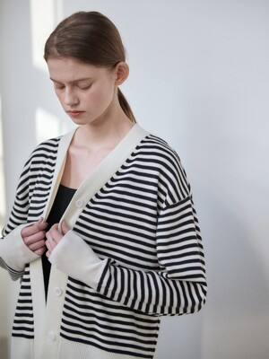 21SN basic stripe cardigan [BK]