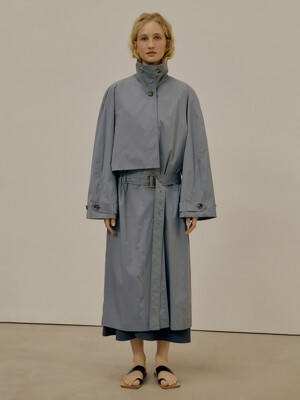 21SS LOW WAIST TRENCH COAT - BLUE GREEN