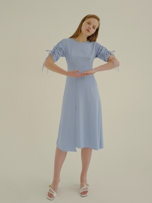 18ss shirring dress blue