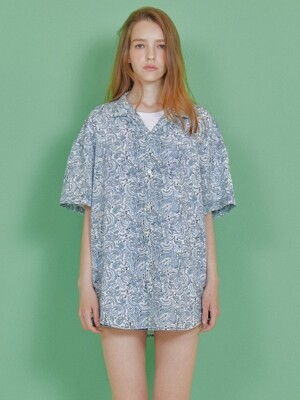 PAISLY HALF SHIRT [WHITE]