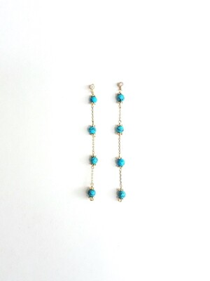 Natural Turquoise Long Earring