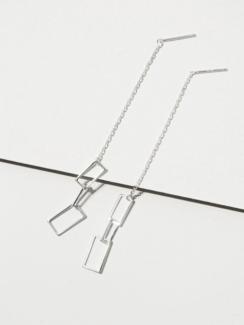 Square link set earrings
