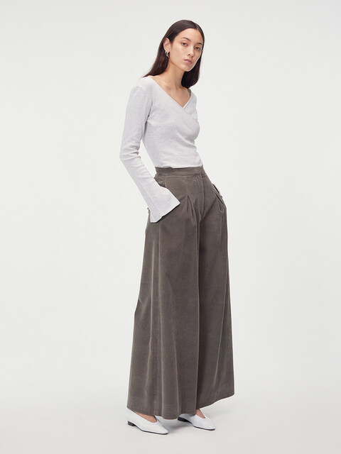 CORDUROY OVERSIZE TROUSERS (GREY)