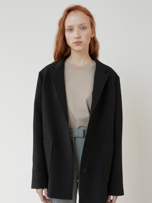 Hidden Button Black Jacket