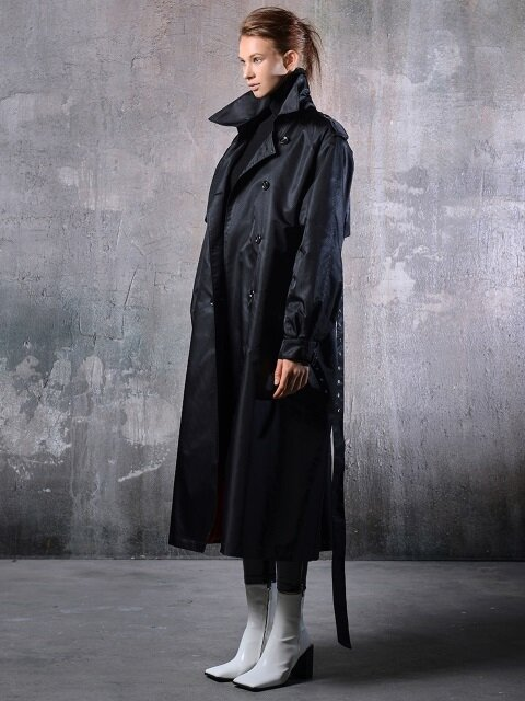 Unisex overfit bomber trench coat (black)