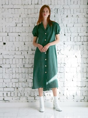 VINTAGE RETRO DRESS FOREST GREEN LINEN