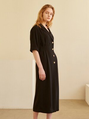19SS COLLAR VOLUME DRESS BLACK