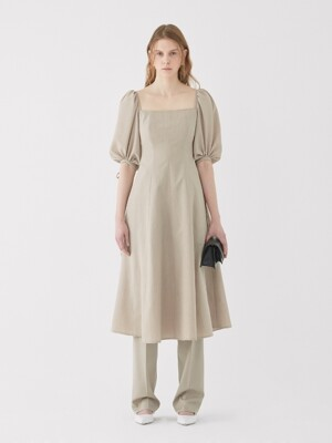 19SS SQUARE-NECK MIDI DRESS OATMEAL