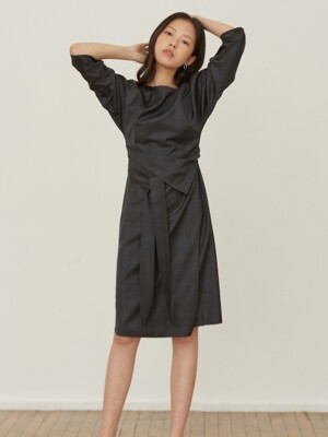 dolman wool check dress _ navy check