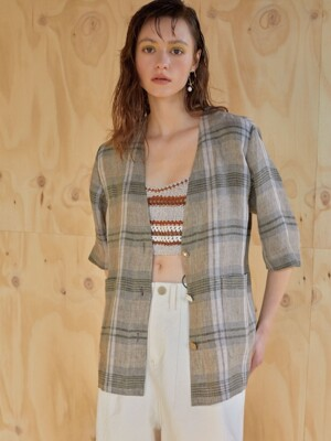 린넨체크 19ss - Robe check jacket - safari