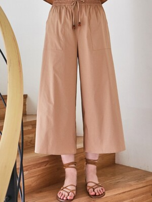 COTTON WIDE BANDING PANTS BEIGE