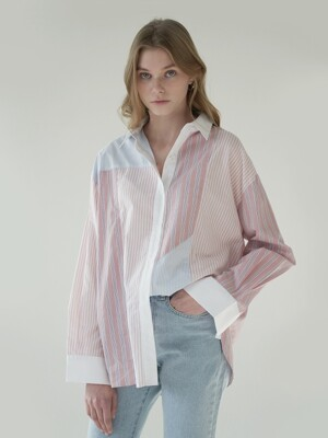 Color block over fit shirt_Pink