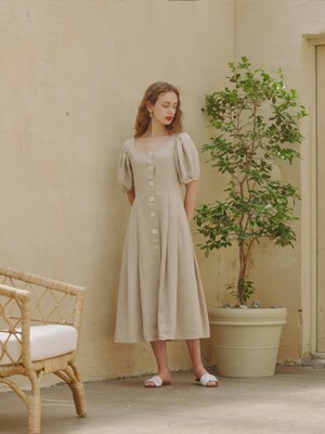 Alice Heart Neck Dress_Beige