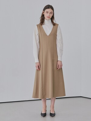 A V-NECK LAYERED DR_BEIGE