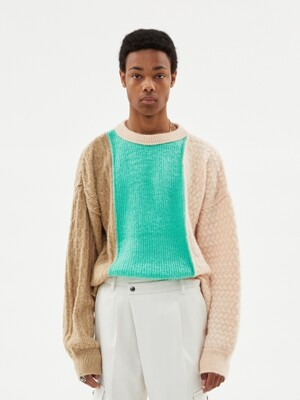 UNISEX BRUSHED CABLE OVERSZIED MOHAIR ROUNDNECK SWEATER atb343u(BIEGE/PALE JADE)
