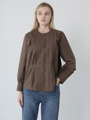 TUCK DETAIL BLOUSE BROWN
