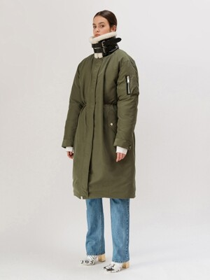 19FW SHEARING-COLLAR LONG DOWN JACKET (KHAKI)
