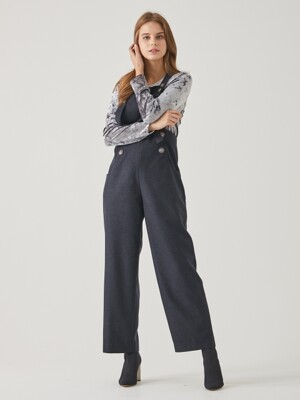BUTTON DETAILED OVERALLS TFWPT-094-GR