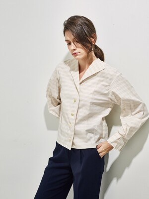BEATRICE PLEATS COTTON BLOUSE _yellow