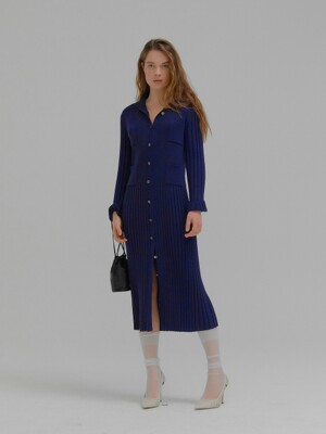 MINKLING Sailor Collar Pleated Knit Dress Navy