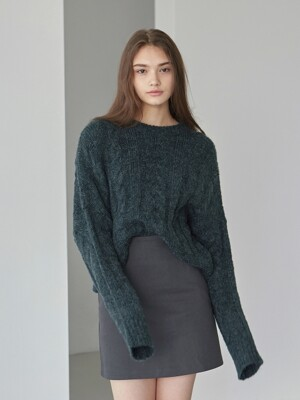TWIST CROP SWEATER_DEEP GREEN