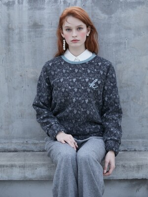 19FW 2ND ANGORA TRIM LACE SWEATSHIRT GREEN