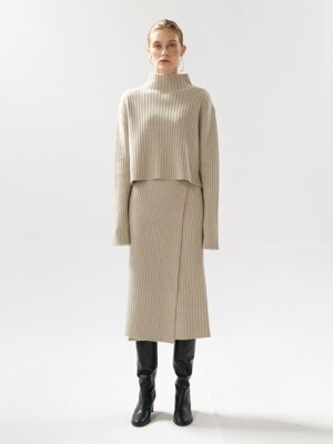 [SET] NTW CASHMERE RIBBED KNIT WRAP SKIRT 4COLOR