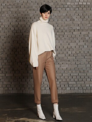 Solid wool pants_Beige