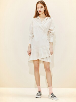 Pleats Shirt Dress [Ivory] JSDR0B902I1