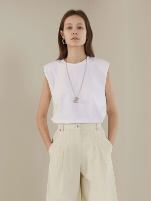 [TC20SSTS01]SHOULDER PAD SLEEVELESS TOP[WHITE]
