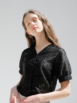 LACE FLOWER SHIRT_BLACK