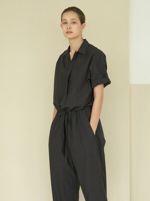 collar cotton jumpsuit (charcoal)