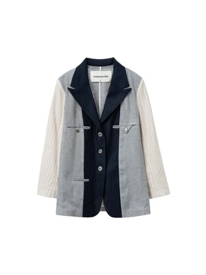 TRIPLE LINEN INSIDE-OUT JACKET awa262w(MELANGE SKY)