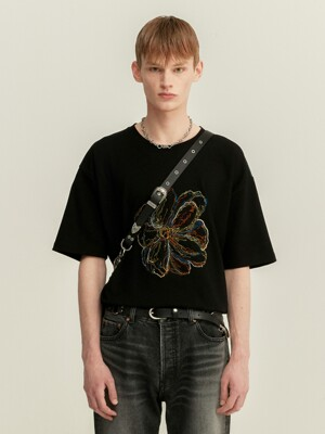UNISEX SUMMER FLEUR EMBROIDERY T-SHIRT atb506u(BLACK)