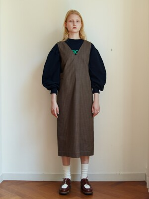 2WAY BUTTON CONTROL DRESS - BROWN