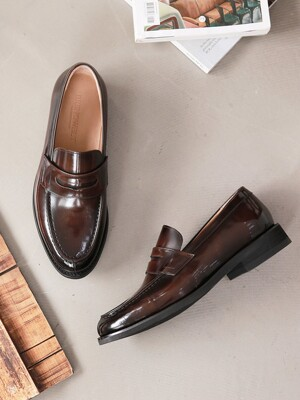 Shine Brown Penny Loafer #6041e