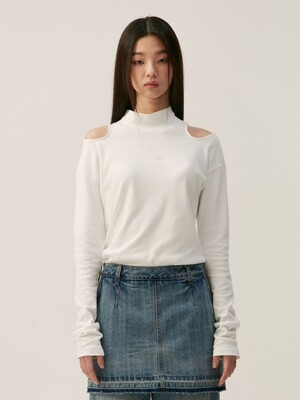 SHOULDER CUT OUT T-SHIRT, WHITE