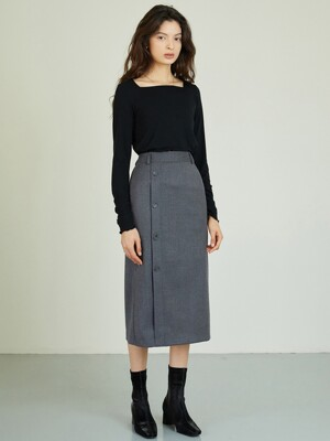 AE_Button Long Skirt_GY