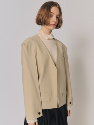 SQUARE NO COLLAR BLAZER [SAND]
