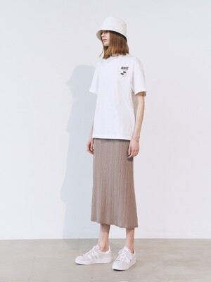 BACK SLIT RIBBED-KNIT SKIRT SHALE_UDSW1E233G1