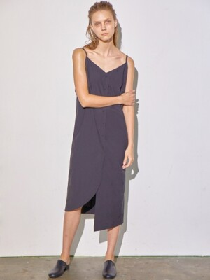 BUTTON DOWN SLIP DRESS - BLACK