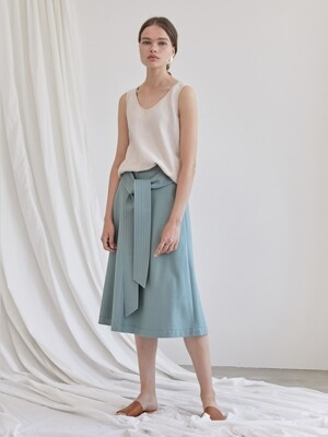 TIE-FRONT SKIRT_MINT GREEN