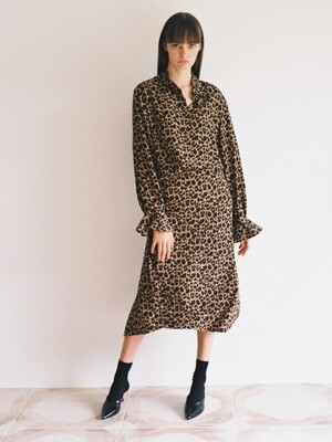 18fw long unbalance slit skirt leopard