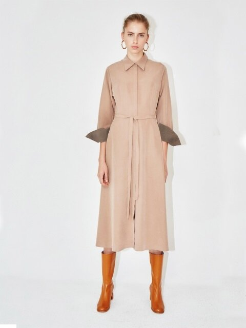 NEW YORK long sleeve flared shirt dress (Beige & Dark chocolate)