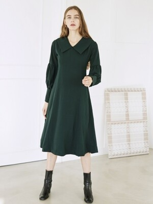 BIG COLLAR PUFF DRESS GREEN