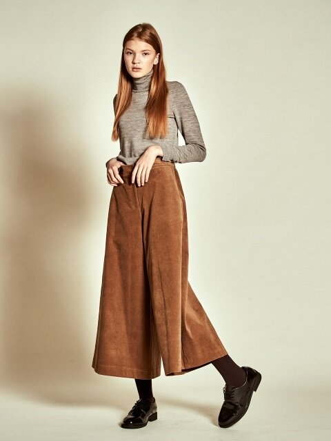 Corduroy Wide Pants_ Beige