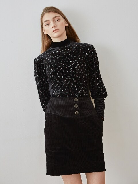 corduroy skirt-black