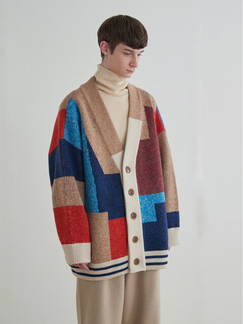 Color Mixed Wool Cardigan Jacket