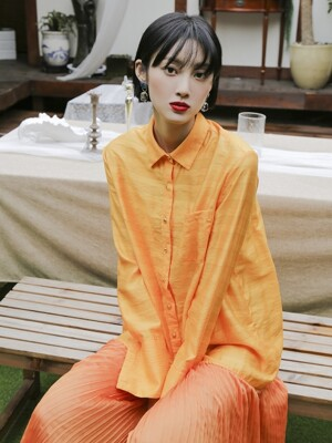 Pleats Shirts Dress _ Orange